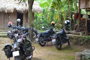 Motorbike rental bikes outside a homestay