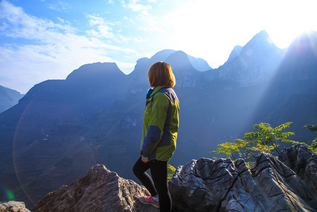 standing on a rock up in Ha Giang