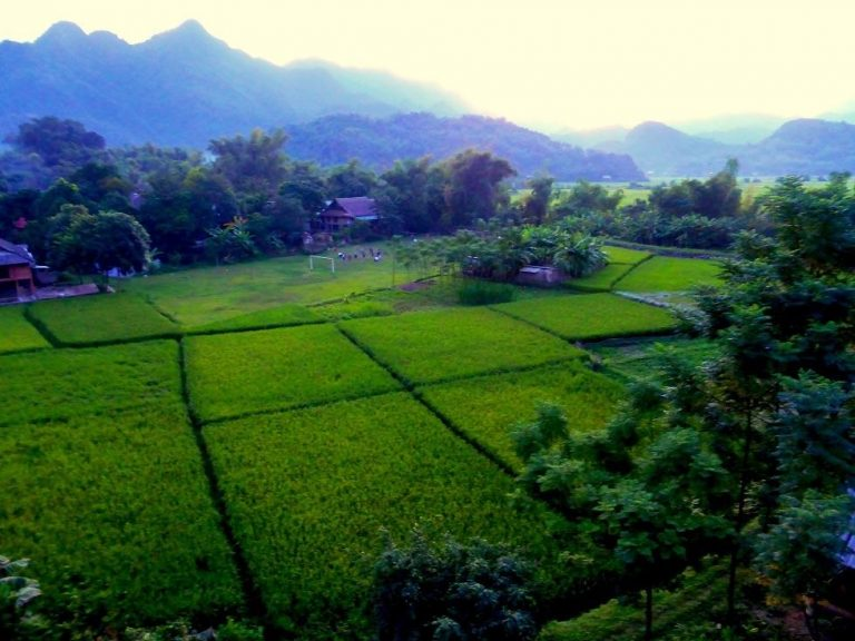 the view from the balcony at the Mai Chau Sunset Hotel