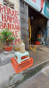 petrol is often left out on the street to show that is is for sale