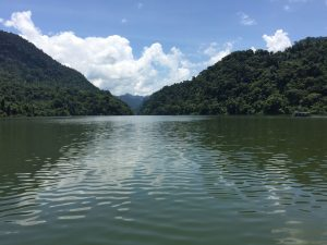 view of ba be lake from the boat in bac kan province